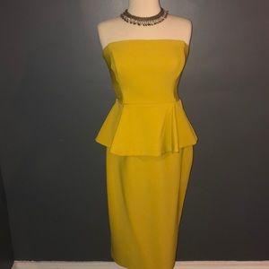 ASOS Yellow Sleeveless Peplum Dress